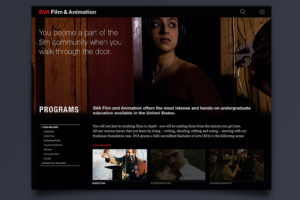 School of Visual Arts Film & Animation Responsive Microsite Design